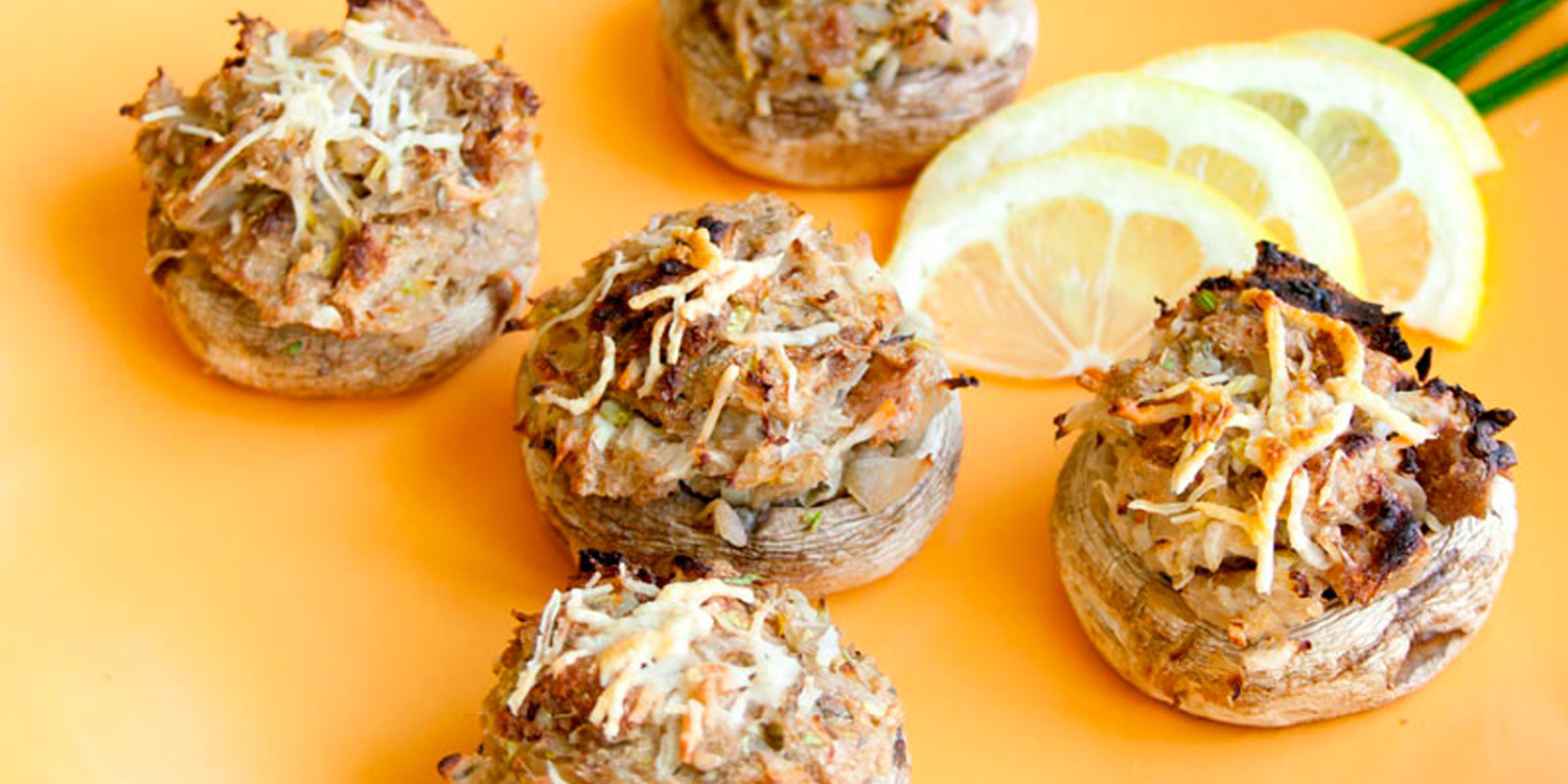 Bread & Sauerkraut Stuffed Mushrooms