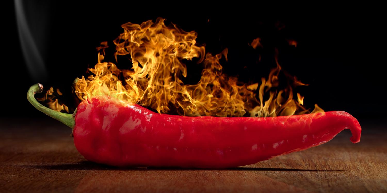 pepper on fire